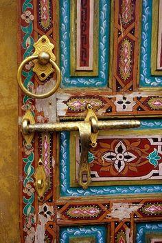 ainted Wooden Door in the Old City of Fez, Morocco