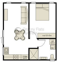 narrow one bedroom rectangular apartment above garage conversion Apartment Floor Plans, Bedroom Floor Plans, House Floor Plans, Garage Granny Flat, Granny Flat Plans, Convert Garage To Bedroom, One Bedroom Flat, Above Garage Apartment, Garage Apartments