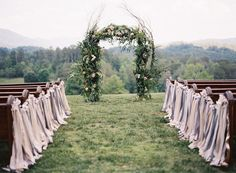 Rustic ribbon: http://www.stylemepretty.com/2014/03/11/20-ways-to-style-your-aisle/