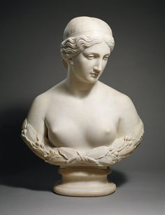 """Daphne, by Harriet Goodhue Hosmer 1854. In Greek mythology Daphne was a nymph who was pursued by Apollo, the sun god. She asked the gods for help and she was turned into a laurel. Daphne was an early word for the dawn, and so the myth may be a parallel for the dawn """"fleeing"""" the sun every morning Statues, Millenium, Gods And Goddesses, Greek Mythology, Metropolitan Museum, American Artists, Art History, Marble, Collection"""