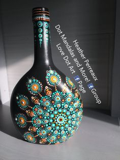 Dot Art bottle mandala. Original design by Heather Perreaux.  Love to Dot and Dot Mandalas and More! Facebook group.