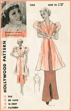Vintage sewing pattern 1930s 30s hollywood by LadyMarloweStudios