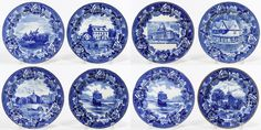 """Lot 621: Wedgwood """"New England Scene"""" Flow Blue Plates; Eight plates: Old Meeting House, (2) Mayflower in Plymouth, Old Brick Church, Old Feather House, The Boston State House, Green Dragon Tavern and Washington Crossing the Delaware"""