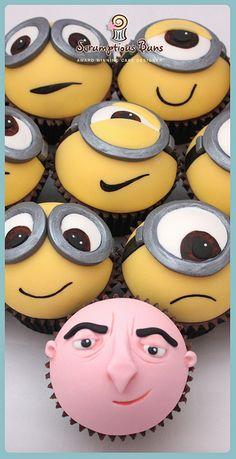 Gru & Minions Cupcakes, by Scrumptious Buns  #minioncupcakes  #minioncake  #miniontoppers
