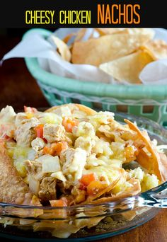 Love this Tex-Mex dish of fresh ingredient cheesy, chicken nachos! Pretty quick meal too!
