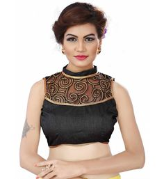 168fca8172284b Buy Greenvilla Designs Black Cotton Readymade with Pad Blouse online  shopping in India. Embroidered Blouse