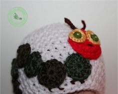 Baby Girl, Baby Boy, Crochet Baby Hat - Very Hungry Caterpillar - Baby Hat - White, 0 - 3 months, READY TO SHIP. $24.99, via Etsy.