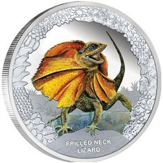 Frilled Neck Lizard Silver Proof Coin
