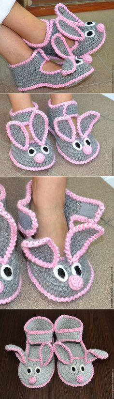Crochet Baby Boots Knitted Slippers Ideas For 2019 Crochet Baby Boots, Crochet Kids Hats, Knitted Booties, Knitted Slippers, Crochet Bunny, Crochet Slippers, Crochet Gifts, Crochet Clothes, Knit Crochet
