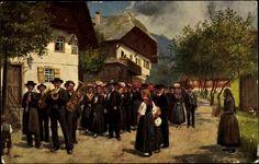 Künstler Ak Hoffmann, H., Schwarzwaldtrachten, Festzug im Ort