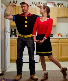 Easy diy popeye and olive oyl couple costume costume pinterest popeye and olive oyl homemade costumes for couples solutioingenieria Images