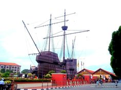 The Maritime Museum in Melaka Malaysia. It is a replica of the 'Flora de La Mar' a Portuguese ship that sank off the coast of Melaka on its way to Portugal carrying loot from Melaka.