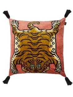 From the safari to your sofa, big cats are autumn's chicest motif. Work the look into your interior with the 'Saber' cushion in an inky midnight-blue velvet. This Tibetan-inspired motif will add personality to your interiors. House of Hackney donates a po Luxury Cushions, Gold Cushions, Velvet Cushions, Cotton Velvet, Pink Velvet, Cotton Linen, Accent Pillows, Throw Pillows, Tiger Print