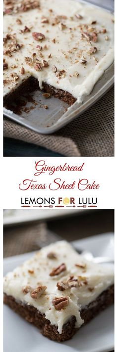 "This Texas sheet cake recipe is ready to feed a crowd!  This chocolate cake is tender and soft and with lots of festive gingerbread flavor! When I was little, the only vacation we took were to Michigan or Canada and this purely to visit family.  We never did much ""on vacation"", there was lots of eating and sitting on people's couches visiting.  I think my mom as a whole album full of the family sitting on couches. In Michigan, we would visit my mom's uncle.  They had a farm, although I…"