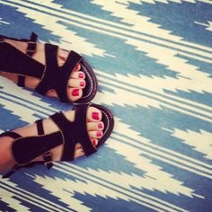 Madeline Weinrib Blue Ditto Cotton Carpet, Emily Hsieh shows off her Madewell gladiators on Madewell's blog