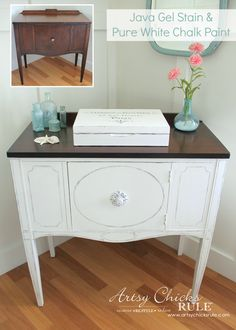 Sideboard Makeover w/Java Gel & Pure White Chalk Paint --- Aubusson Blue makes an appearance on the inside!