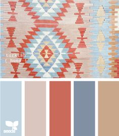 """Colors for our new living room :) Crafted colors - """"Turkish hues"""". This is a GORGEOUS color palette. Colonial blue - dark and light - goes so well with terra cotta-ish colors. This one has more of the rose than orange look. Colour Schemes, Color Patterns, Color Combos, Color Mix, Design Seeds, Decoration Inspiration, Color Inspiration, Color Terracota, Logo Design"""