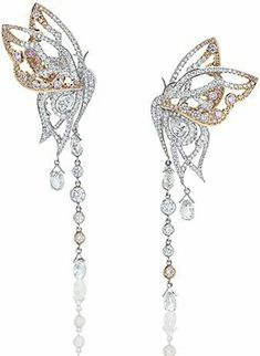 12ct Cz Beautifull butterfly Dangle Earring 925 Sterling Silver Wedding Jewelry  #NIKI #Chandelier
