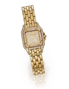 18 Karat Gold and Diamond 'Panthère' Wristwatch, Cartier | Lot | Sotheby's