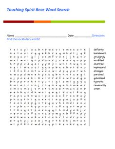 This unit is an excellent source for the book touching spirit bear touching spirit bear word search fandeluxe Images