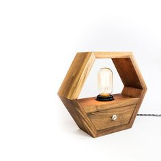 Light up your work or living space with this hexagonal hardwood edison lamp. American Black Walnut is one of my favorite hardwoods to use for my home decor products. It is a stable wood, has excellent