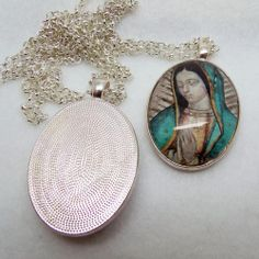 Our Lady of Guadaloupe Guadalupe Oval Glass Tile Pendant Necklace