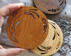 Wood Coasters - Set of 2 - Engraved Wood Coasters - Lavender