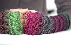 Fingerless gloves in plum, green and lavender, Long fingerless gloves, Knit fingerless glove, Long arm warmers Boho fingerless gloves