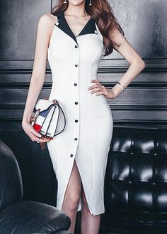 Notch Collar Button Embellished Sleeveless White Sheath Dress on sale only US$35.37 now, buy cheap Notch Collar Button Embellished Sleeveless White Sheath Dress at liligal.com