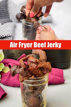 Easy Air Fryer Beef Jerky is a homemade recipe that will show you how to make marinated jerky from scratch without having to use a dehydrator. Making your own is healthy and delicious! Air Fryer Recipes Beef, Air Frier Recipes, Air Fryer Dinner Recipes, Beef Recipes, Healthy Recipes, Beef Tips, Burger Recipes, Homemade Beef Jerky, Homemade Recipe