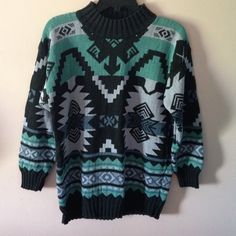 Nordic-looking sweater, very cute! Very cute, Nordic/Swedish -looking I guess! Dark mint green, charcoal, and a very light gray. Cute but doesn't fit me right. Brand is Woods & Gray Woods & Gray Sweaters