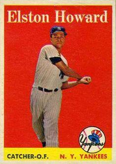 Elston Howard 1958 Catcher - New York Yankees Card Number: 275 Best Baseball Games, Baseball Park, New York Yankees Baseball, Baseball Players, Soccer Jerseys, Baseball Stuff, Giants Dodgers, Damn Yankees, Elston Howard