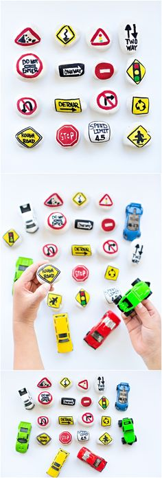 DIY Traffic Signal Rocks for Imaginative Play. Fun rock craft for kids!
