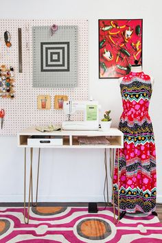 Emma's DIY sewing desk (via abeautifulmess.com)