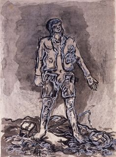 "Georg Baselitz (German, born 1938), Untitled from the Hero Series, 1965, Gouache, ink, graphite, and oil pastel on paper; 25-15/16 x 19"", Saint Louis Art Museum, Museum Shop Fund 11:1994."