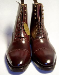 Fabulous conker brown brogued Balmoral boots.