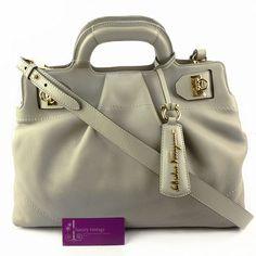 S.Ferragamo Tote Gancini Light Grey Color Leather Very Good Condition  Ref.code-(GRCK-3) More Information Pls Email  (- luxuryvintagekl@ gmail.com)