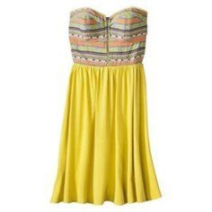 Aztec Strapless Mustard Dress