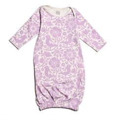 You can never have enough gowns when you have a little one, particularly when they are as sweet as this gown from Winter Water Factory!  Visit littleorangefishkids.com for more information. Winter Water Factory Lavender Birds & Flowers Gown #babygown #babygirlclothing #layette #babyclothes