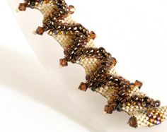 Seed Bead Bracelet in Smoked Topaz Crystals, Brown and Ivory Seed Beads - Beaded Bracelet - Peyote Bracelet - Flat Cellini