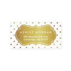 Shop Chic White and Gold Glitter Polka Dots Label created by UrHomeNeeds. New Year Greeting Cards, New Year Greetings, New Year Card, Polka Dot Labels, Christmas Address Labels, Hanukkah Cards, Wedding Postcard, Custom Address Labels, Gold Polka Dots