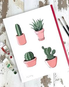 Floral Cactus Inspired Paintings Illustrations by Philip Boelter Boelter Design Co Cactus Drawing, Cactus Painting, Cactus Art, Cactus Plants, Cactus Flower, Illustration Cactus, Floral Illustrations, Art Mini Toile, Art Sketches