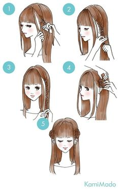 easy hairstyles These cute hairstyles are so simple to do and can be done in just minutes! Not everyone has a lot of time these days. So easy hairstyles are the way forward. Cute Quick Hairstyles, Sweet Hairstyles, Kawaii Hairstyles, Pretty Hairstyles, Braided Hairstyles, Pinterest Hair, How To Draw Hair, Hair Hacks, Curly Hair Styles