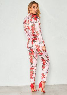 4d56a73758 Lucy Pink Satin Floral Pyjama Style Trousers