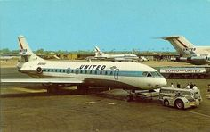 United Caravelle 1960s Sud Aviation, Civil Aviation, Remember The Time, Vintage Air, Commercial Aircraft, United Airlines, Aircraft Design, Concorde, Flight Attendant