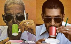 """Criolo encarna Cartola na capa do clássico """"Verde que te Quero Rosa"""" (1977). Seu """"Nó na Orelha"""", do ano passado, o transformou no artista independente de maior repercussão de sua geração Leia mais"""