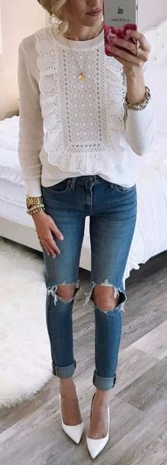 how to wear a white blouse with rips