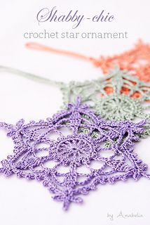 You're going to love Shabby-chic crochet star ornament by designer Anabelia Craft Design. Crochet Snowflake Pattern, Crochet Stars, Crochet Snowflakes, Thread Crochet, Crochet Motif, Crochet Doilies, Crochet Flowers, Knit Crochet, Crochet Coaster