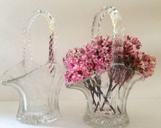 2 Glass Baskets 6 inch by Duncan and Miller by JanvierRoad on Etsy, $35.00