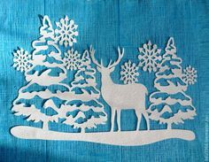 Купить Новогодняя бумажная вырубка ,,Одинокий олень 2,, - белый, украшение окон, наклейки на окна
